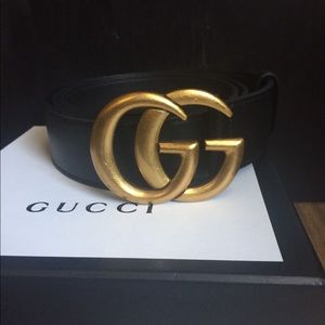 new auth gucci marmot black belt gold buckle